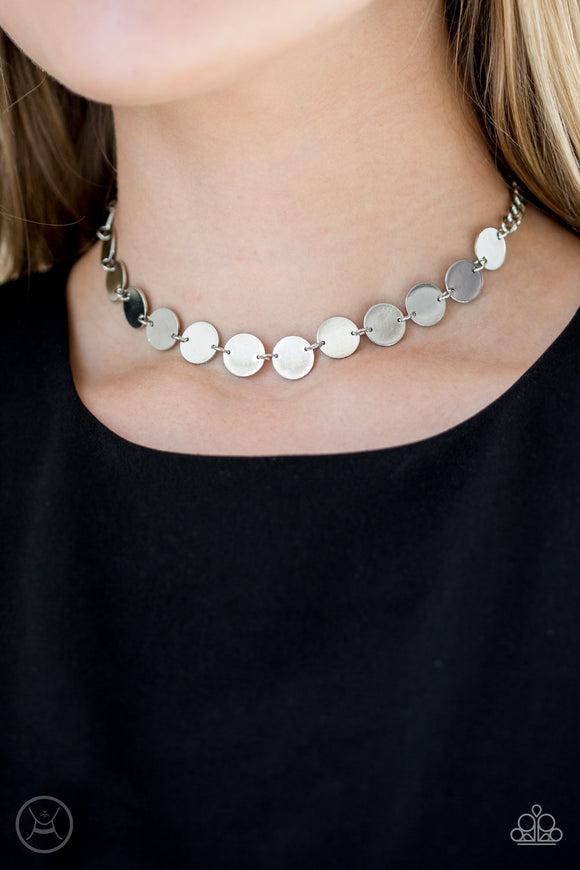 Paparazzi Faster Than SPOTLIGHT - Silver - Shiny Discs - Choker Necklace and matching Earrings