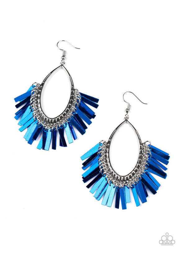 Paparazzi Fine-Tuned Machine - Blue - Earrings - Lauren's Bling $5.00 Paparazzi Jewelry Boutique
