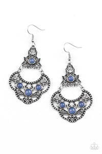 Paparazzi Garden State Glow - Blue Beads - White Rhinestones - Silver Earrings - Lauren's Bling $5.00 Paparazzi Jewelry Boutique