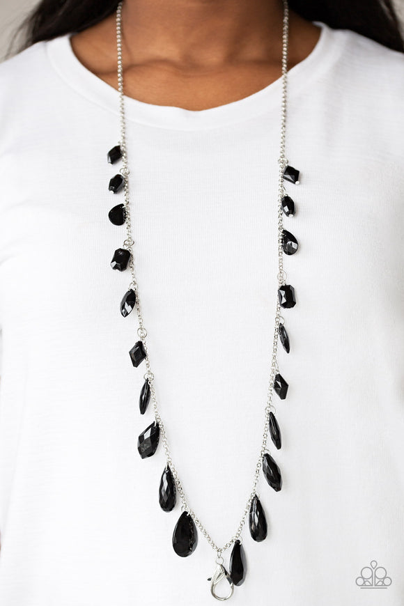 Paparazzi GLOW And Steady Wins The Race - Black Lanyard - Necklace and matching Earrings - Lauren's Bling $5.00 Paparazzi Jewelry Boutique