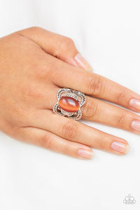 Paparazzi Go For Glow - Orange - Cat's Eye Stone - Silver Etched Leafy - Ring - Lauren's Bling $5.00 Paparazzi Jewelry Boutique
