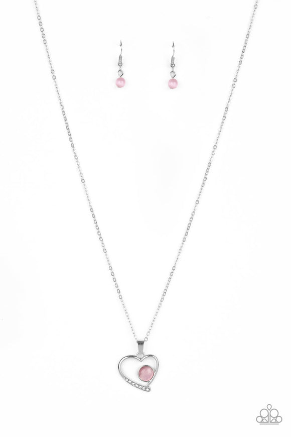 Paparazzi Heart Full of Love - Pink - Cat's Eye Moonstone - Necklace and matching Earrings