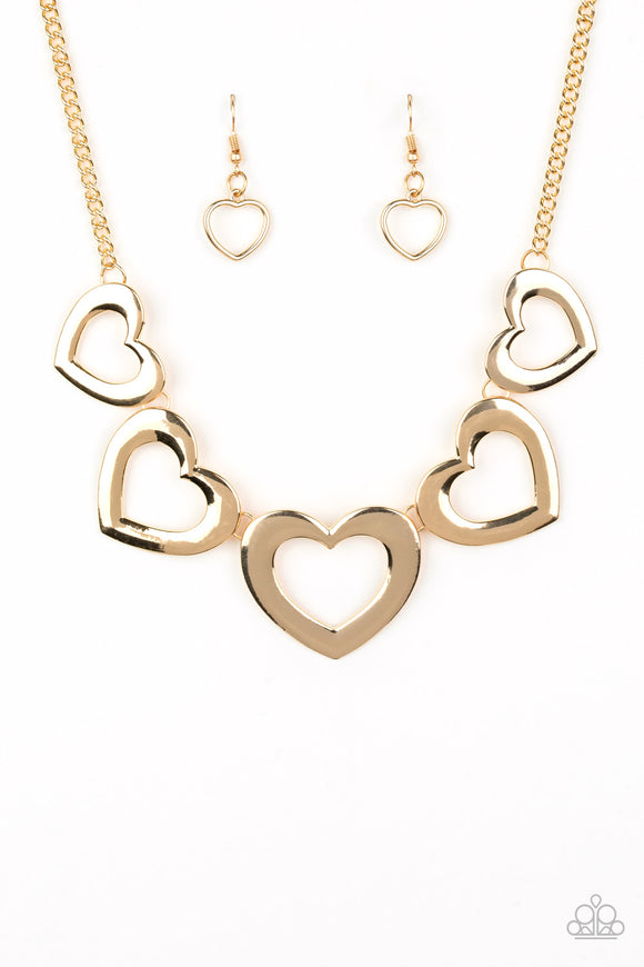 Paparazzi Hearty Hearts - Gold - Heart Silhouettes - Necklace and matching Earrings