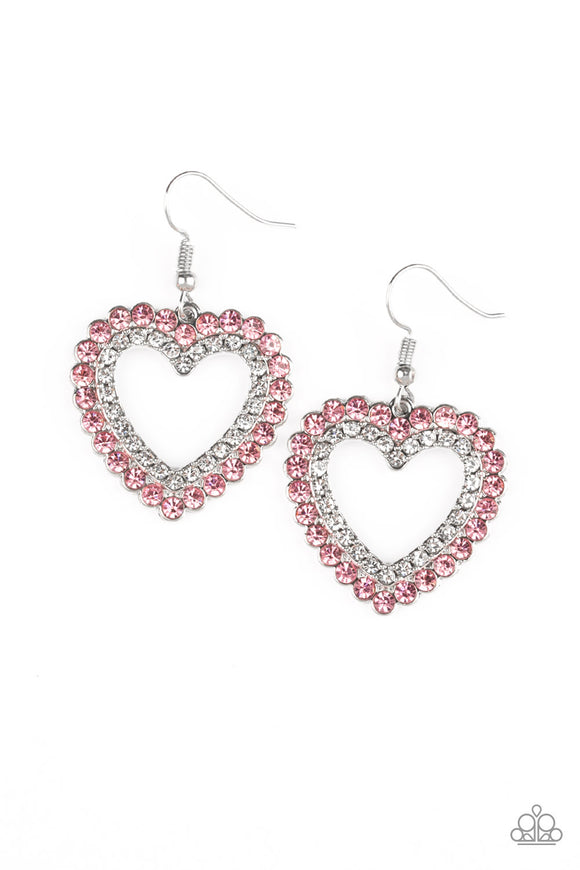 Paparazzi High School Sweethearts - Pink - Glittery Rhinestones - Heart Frame - Earrings