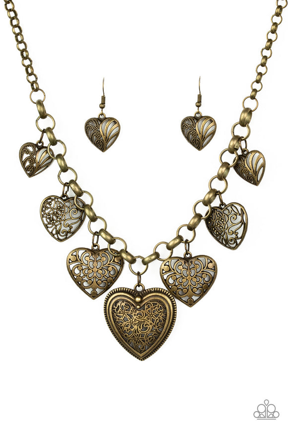 Paparazzi Love Lockets - Brass - Filigree Hearts - Necklace and matching Earrings