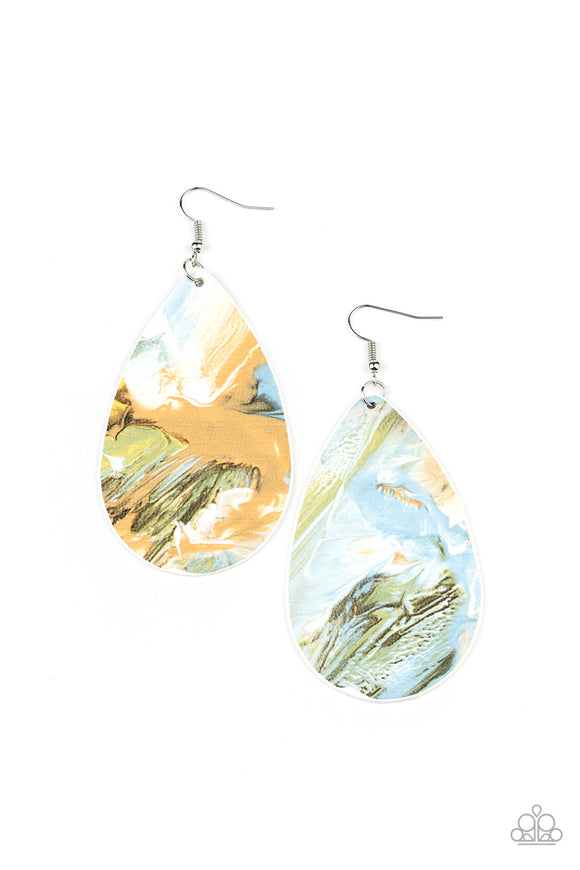 Paparazzi Mesmerizing Mosaic - Multi Light - Blue, Brown, Green & White Swirls - Mismatched Leathery Teardrop - Earrings