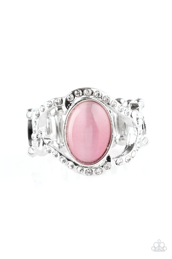 Paparazzi Moulin Moon - Pink Moonstone - Rhinestones - Silver Ring