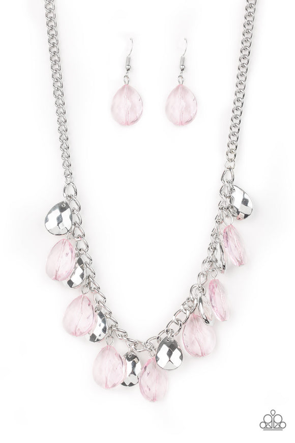 Paparazzi No Tears Left To Cry - Pink Teardrops - Thick Silver Necklace and matching Earrings