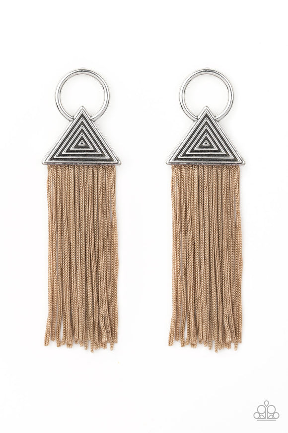 Paparazzi Oh My GIZA - Brown Tasseled Cording / Thread / Fringe - Silver Hoop Post Earrings - Lauren's Bling $5.00 Paparazzi Jewelry Boutique