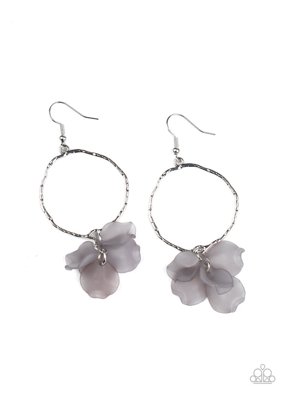 Paparazzi Petals On The Floor - Silver - Acrylic Petals - Hammered Hoop - Earrings