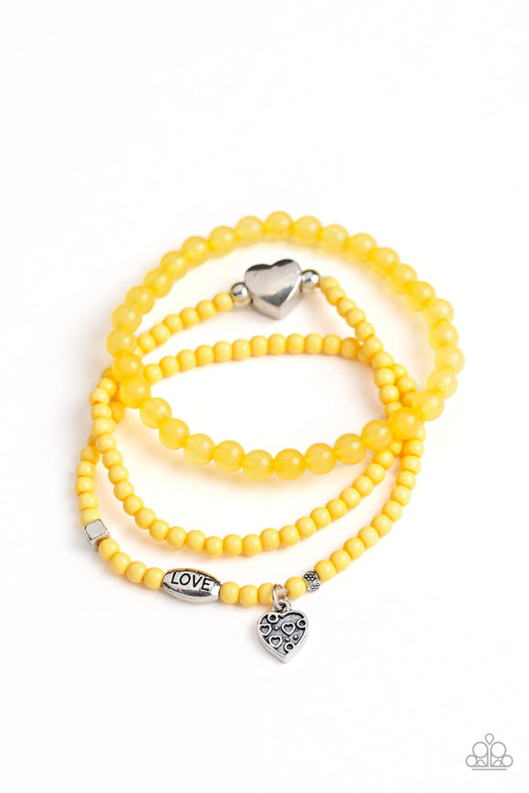 Paparazzi Really Romantic - Yellow - Silver Heart,