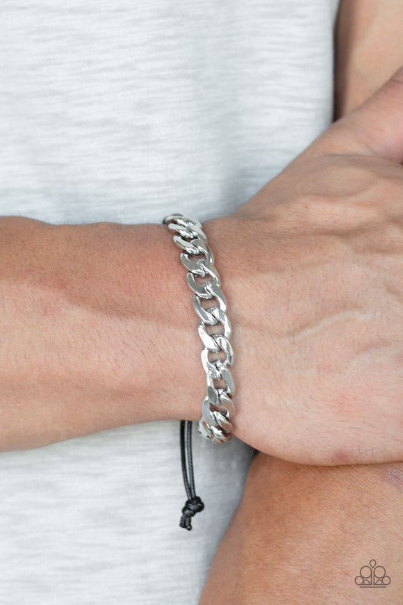 Paparazzi Renegade - Silver Thick Beveled Chain - Black Cording Sliding Knot Closure - Bracelet - Men's Collection