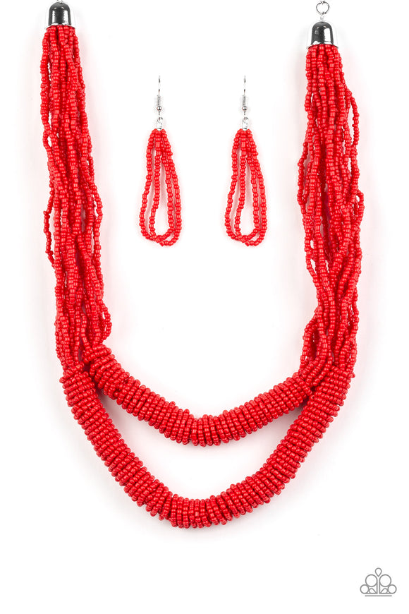 Paparazzi Right As RAINFOREST - Red Seed Beads - Necklace and matching Earrings