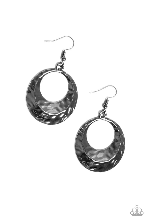Paparazzi Savory Shimmer - Black - Hammered Gunmetal Hoop Earrings - Lauren's Bling $5.00 Paparazzi Jewelry Boutique