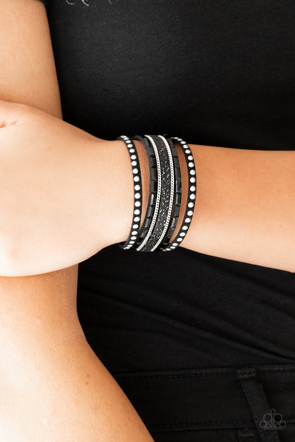 Paparazzi Seize The Sass - Black - Emerald Cute Rhinestones - Silver Studs, Chains - Wrap / Snap Bracelet