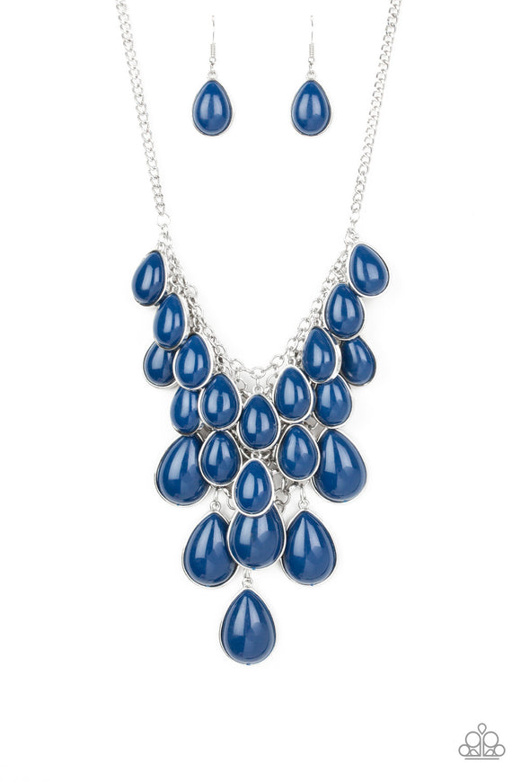 Paparazzi Shop Til You TEARDROP - Blue - Teardrops - Dramatic Fringe - Silver Chain Necklace and matching Earrings - Lauren's Bling $5.00 Paparazzi Jewelry Boutique