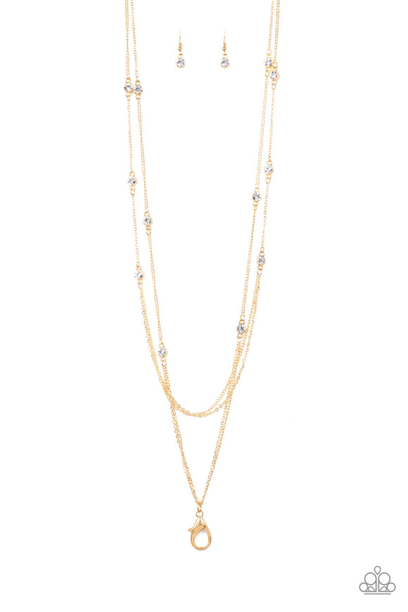 Paparazzi Sparkle Of The Day - Gold - LANYARD - White Rhinestone - Necklace and matching Earrings - Lauren's Bling $5.00 Paparazzi Jewelry Boutique