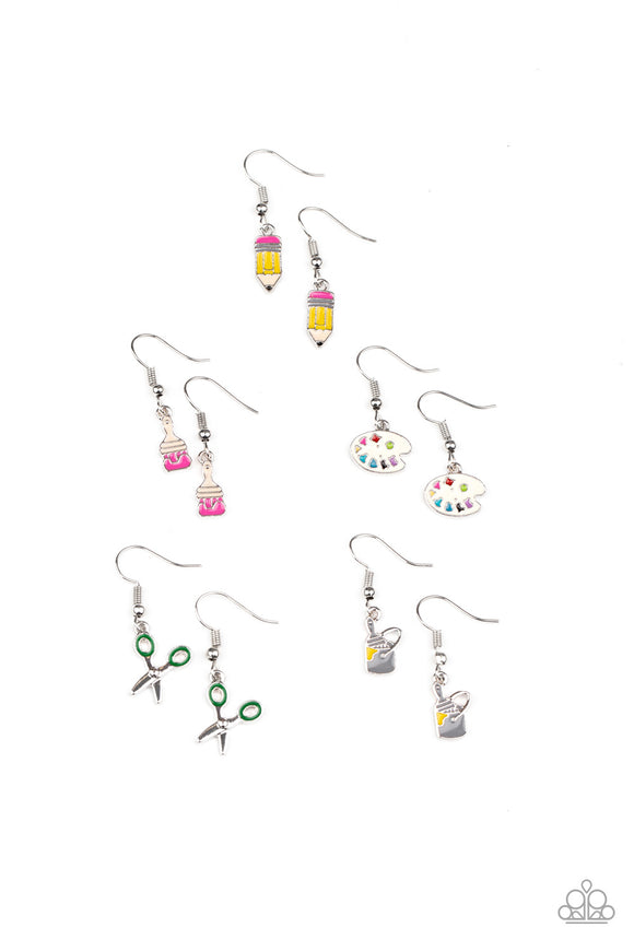 Paparazzi Starlet Shimmer Girls Earring - 10 - Pencils, Scissors, Paintbrushes, Paint Buckets & Palettes