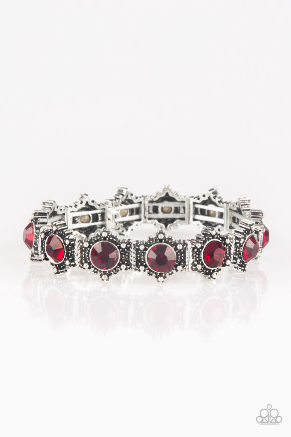Paparazzi Strut Your Stuff - Red Rhinestones - Silver Stretchy Bracelet - Lauren's Bling $5.00 Paparazzi Jewelry Boutique
