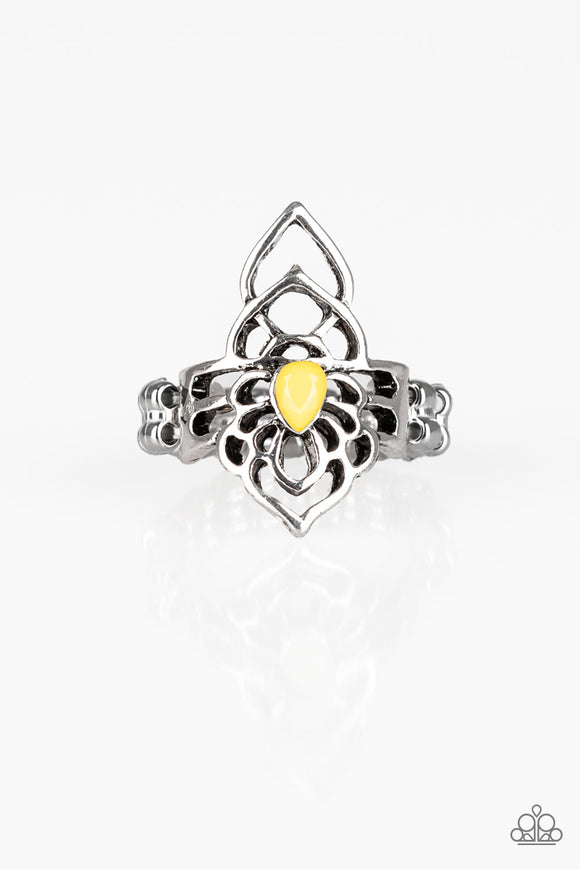 Paparazzi Taj MAHALO - Yellow Teardrop Bead - Silver Filigree Ring