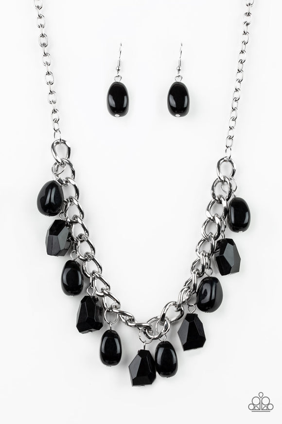 Paparazzi Take The COLOR Wheel! - Black Beads - Silver Chain Necklace and matching Earrings