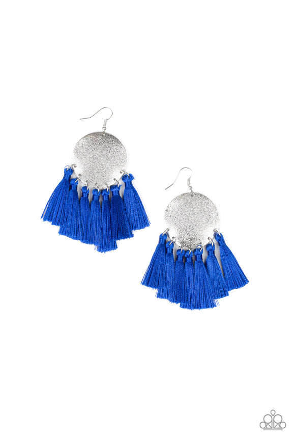 Paparazzi Tassel Tribute - Blue - Thread / Tassels / Fringe - Silver Disc - Earrings