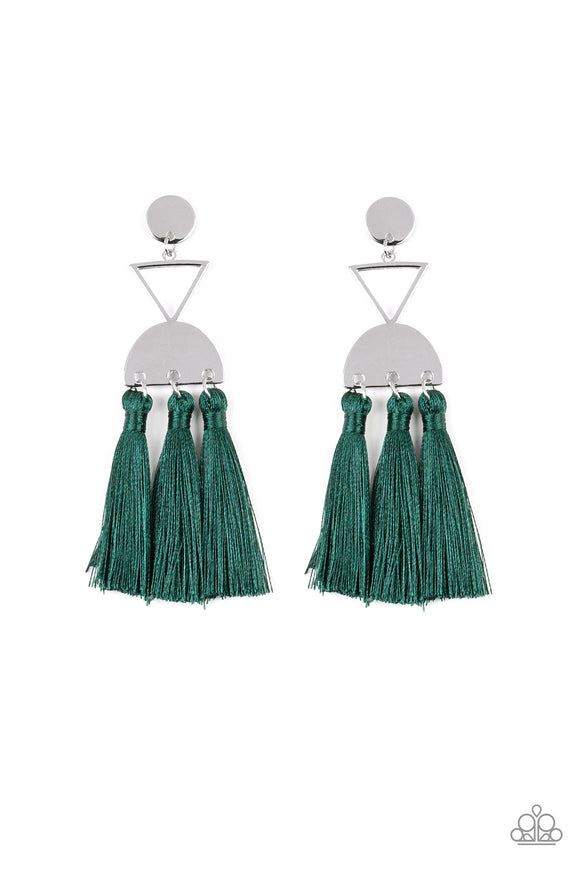 Paparazzi Tassel Trippin - Green - Thread / Fringe / Tassel - Silver Disc Triangle - Earrings