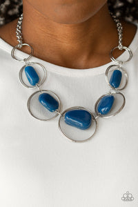 Paparazzi Travel Log - Blue - Galaxy Rock Beads - Silver Hoops - Necklace and matching Earrings - Lauren's Bling $5.00 Paparazzi Jewelry Boutique