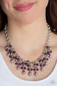 Paparazzi Travelling Trendsetter - Purple Plum Beads - Bold Silver Chain Necklace & Earrings - Lauren's Bling $5.00 Paparazzi Jewelry Boutique