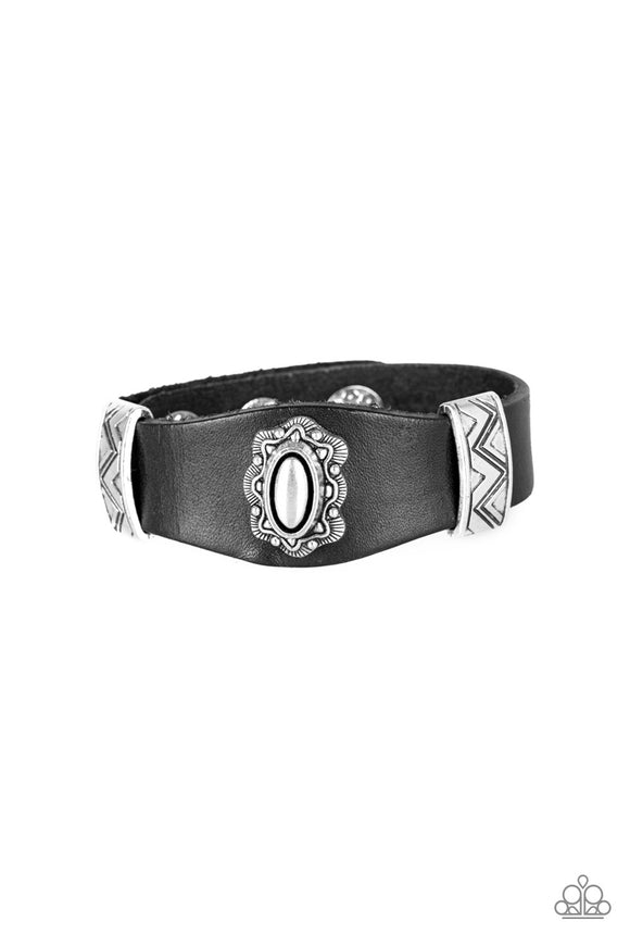 Paparazzi Western Romance - Black Leather - Ornate Metallic Accents - Antiqued Frame - Snap Bracelet