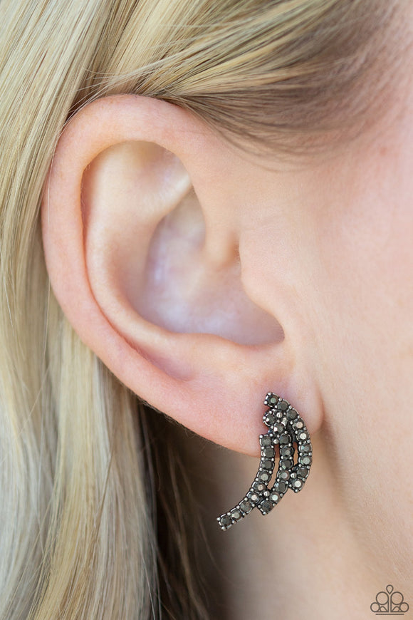 Paparazzi Wing Bling - Silver - Hematite Rhinestones - Silver Wing - Post Earrings