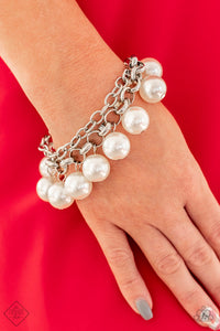 Paparazzi Word On Wall Street White Pearls - Silver Chain Bracelet - Fashion Fix Exclusive September 2019 - Lauren's Bling $5.00 Paparazzi Jewelry Boutique