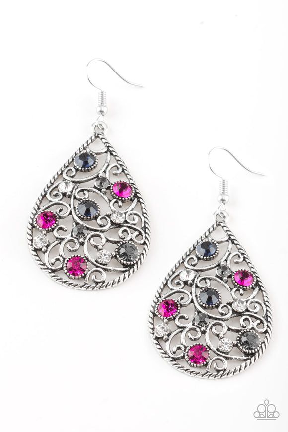 Paparazzi Certainly Courtier - Multi - Colorful Rhinestones - Silver Filigree Earrings