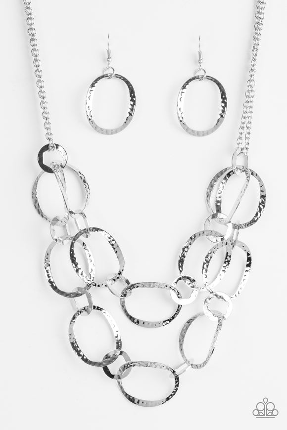 Paparazzi Circus Chic - Silver - Necklace and matching Earrings - Lauren's Bling $5.00 Paparazzi Jewelry Boutique