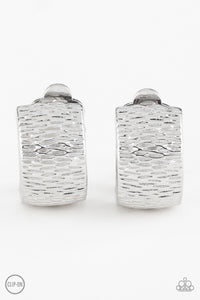 Paparazzi Cirque Du Couture - Silver - Rippling Textures - Clip On Earrings - Lauren's Bling $5.00 Paparazzi Jewelry Boutique
