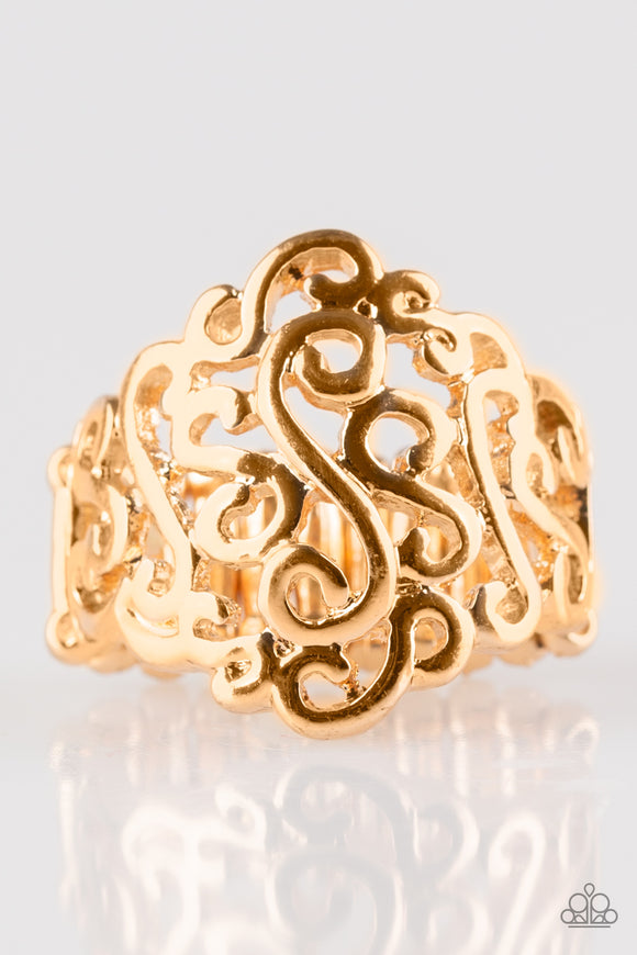 Paparazzi Dizzy Demure - Gold - Filigree Ring - Lauren's Bling $5.00 Paparazzi Jewelry Boutique