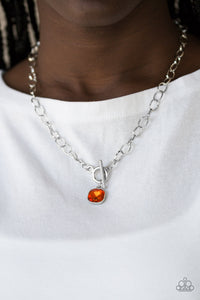 Paparazzi Dynamite Dazzle - Orange Gem - Silver Chain Necklace & Earrings - Lauren's Bling $5.00 Paparazzi Jewelry Boutique