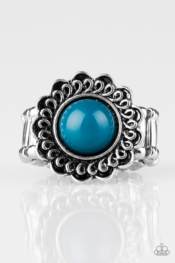 Paparazzi Garden Stroll - Blue Bead - Silver Floral Frame Swirling Detail - Ring - Lauren's Bling $5.00 Paparazzi Jewelry Boutique