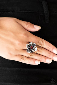 Paparazzi Glowing Gardens - Red - Rhinestone - Antiqued Silver Petals - Ring - Lauren's Bling $5.00 Paparazzi Jewelry Boutique