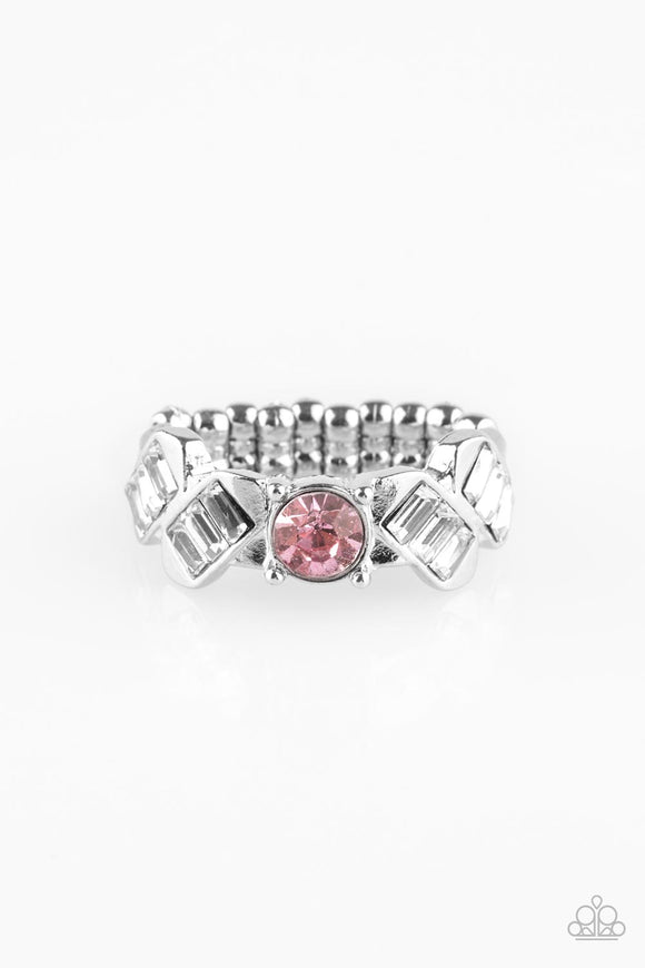 Paparazzi Luxury Loot - Pink Emerald Cut Rhinestone Ring - Lauren's Bling $5.00 Paparazzi Jewelry Boutique