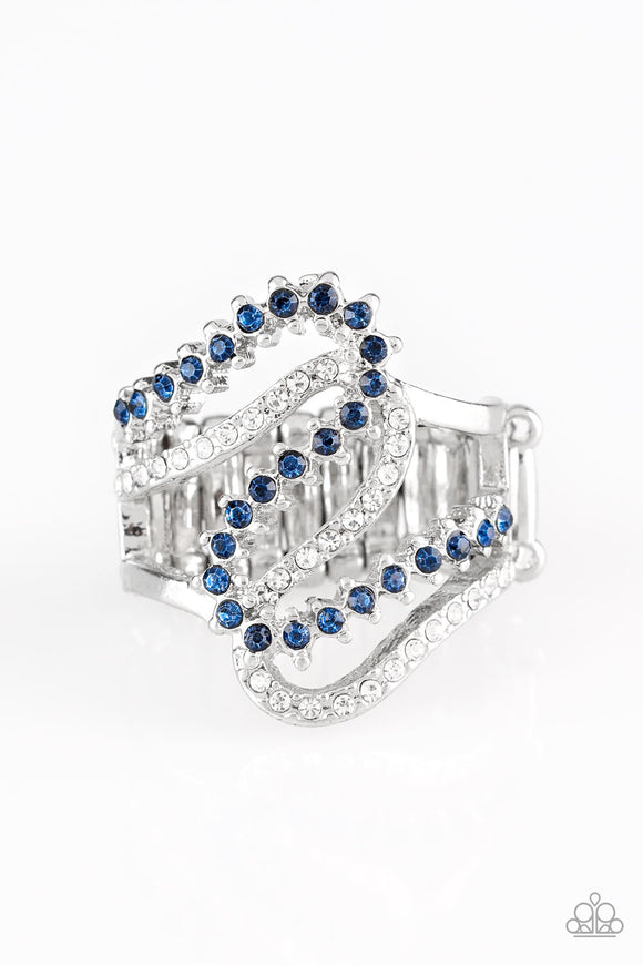Paparazzi Make Waves - Blue Rhinestones - White Rhinestones Silver Ring - Lauren's Bling $5.00 Paparazzi Jewelry Boutique