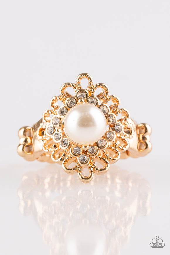 Paparazzi Perfect Perfectionist - Gold- White Pearly Bead - White Rhinestones - Gold Ring - Lauren's Bling $5.00 Paparazzi Jewelry Boutique