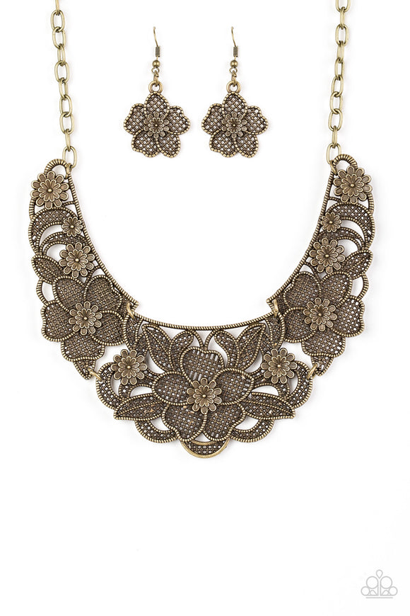 Paparazzi Petunia Paradise - Brass - Flower Necklace and matching Earrings - Lauren's Bling $5.00 Paparazzi Jewelry Boutique
