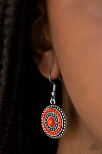 Paparazzi Rainbow Riviera - Red - Beads - Silver Frame - Earrings - Lauren's Bling $5.00 Paparazzi Jewelry Boutique