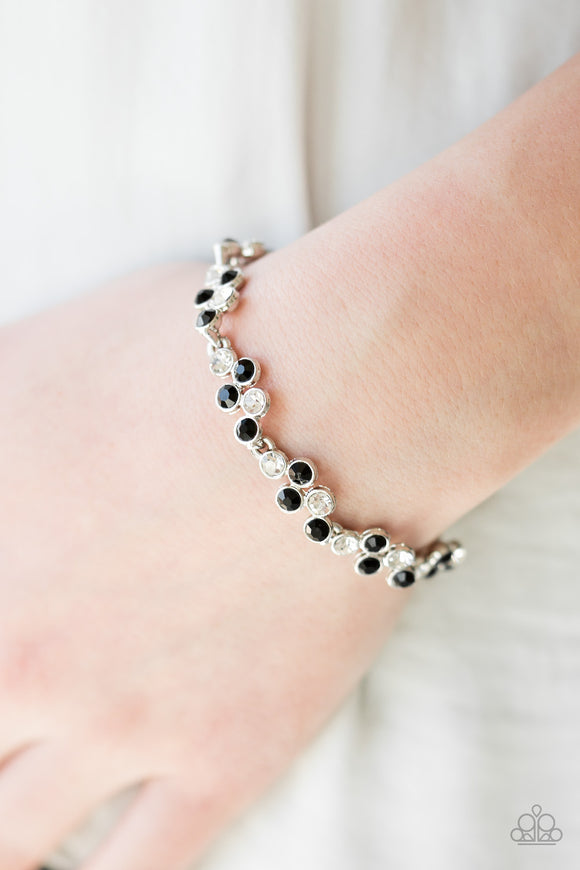 Paparazzi Still GLOWING Strong - Black - White Rhinestones - Silver Adjustable Bracelet - Lauren's Bling $5.00 Paparazzi Jewelry Boutique