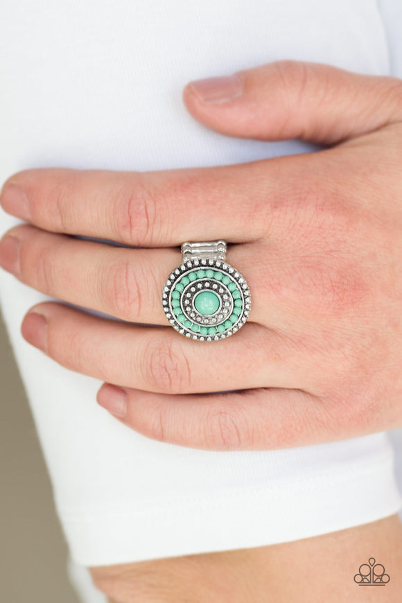 Paparazzi Tide Pools - Green Beads - Silver Studded Ring - Lauren's Bling $5.00 Paparazzi Jewelry Boutique