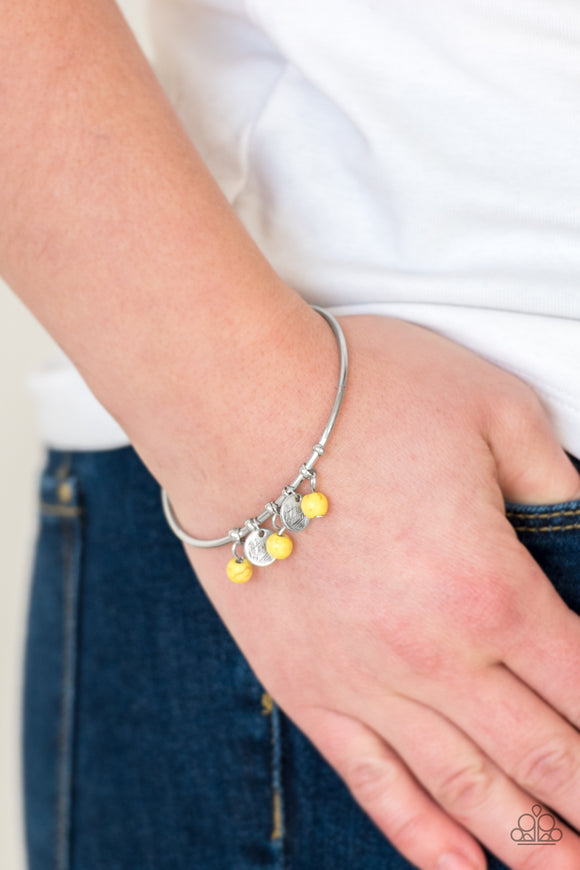 Paparazzi Totally Tahoe - Yellow - Stones - Silver Bangle - Cuff Bracelet - Lauren's Bling $5.00 Paparazzi Jewelry Boutique