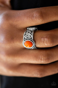 Paparazzi Totally Tidal - Orange Bead - Silver Ring - Lauren's Bling $5.00 Paparazzi Jewelry Boutique