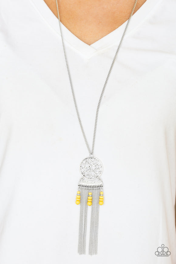 Paparazzi Western Wayward - Yellow Beads - Silver Fringe - Necklace and matching Earrings - Lauren's Bling $5.00 Paparazzi Jewelry Boutique