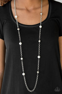 Paparazzi Showroom Shimmer - White - Necklace & Earrings - Lauren's Bling $5.00 Paparazzi Jewelry Boutique